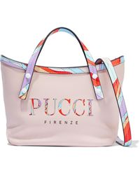 Emilio Pucci Printed Leather Shoulder Bag Baby Pink