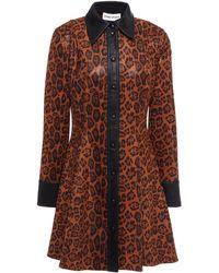 Stand Studio Hemdkleid in minilänge aus stretch-velourslederimitat mit leopardenprint und lederbesatz - Braun