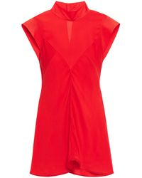 Victoria Beckham - Silk-crepe Top Tomato Red - Lyst