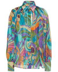 Alberta Ferretti Printed Silk-chiffon Shirt - Multicolor
