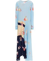 Preen Line Selena Asymmetric Color-block Floral-print Crepe De Chine Midi Dress Light Blue