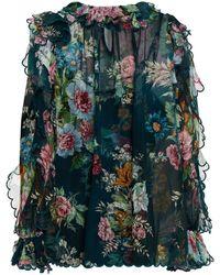 Zimmermann - Ruffled Floral-print Silk-chiffon Blouse - Lyst