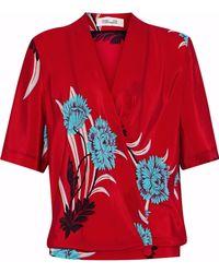 Diane von Furstenberg - Floral-print Silk Wrap Blouse - Lyst