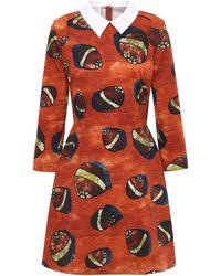 Stella Jean Printed Stretch-cotton Twill Mini Dress Bright Orange
