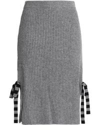 Chinti & Parker - Bow-embellished Ribbed-knit Wool And Cashmere-blend Skirt - Lyst