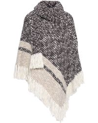 See By Chloé See By Chloé Woman Fringe-trimmed Wool-blend Turtleneck Poncho Chocolate - Brown