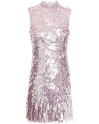 Rachel Gilbert Max Sequined Stretch-tulle Mini Dress - Purple