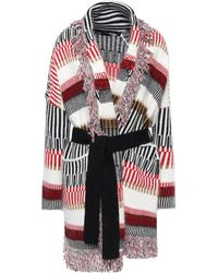 Maje Fringe-trimmed Jacquard-knit Cardigan Multicolour