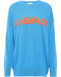 Sandro Intarsia Wool And Cashmere -blend Jumper Azure - Blue