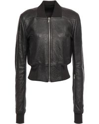 Rick Owens Ribbed Knit-paneled Pebbled-leather Bomber Jacket Black