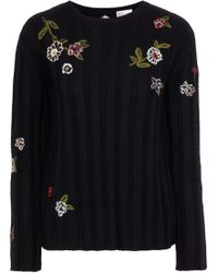RED Valentino - Point D'esprit-paneled Embroidered Ribbed-knit Sweater Black - Lyst