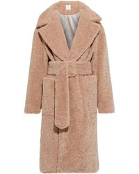 Deveaux Victoria Belted Faux Shearling Coat - Natural