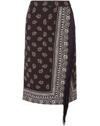 Altuzarra Jude Bandana Print Fringed Skirt - Black