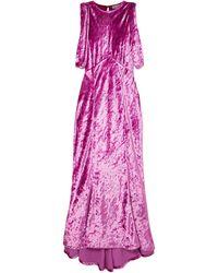 The Attico Asymmetric Draped Crushed-velvet Dress Magenta - Purple