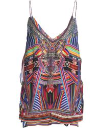 8e91cc2351d23 Camilla - Woman Amazon Crystal-embellished Printed Silk Top Multicolour -  Lyst