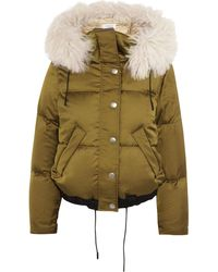 COACH Shearling-trimmed Padded Shell Hooded Coat - Green