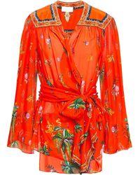 Camilla Cinema Paradiso Embellished Printed Silk-chiffon Wrap Blouse Tomato Red