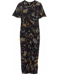 W118 by Walter Baker Stanley Ruched Floral-print Crepe De Chine Midi Dress Black