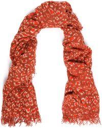 Chan Luu Frayed Leopard-print Cashmere And Silk-blend Gauze Scarf Brick - Red