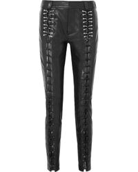 Mugler Lace-up Leather Slim-leg Pants Black