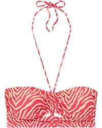 ViX Fiorella Georgia Cutout Zebra-print Bandeau Bikini Top Tomato Red