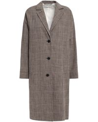 MASSCOB Belted Prince Of Wales Checked Cotton-blend Coat Neutral - Grey