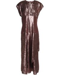 Lanvin - Crinkled Silk-blend Lamé Midi Dress - Lyst