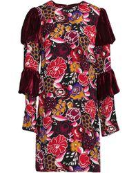 Anna Sui - Panelled Velvet And Printed Silk Mini Dress - Lyst