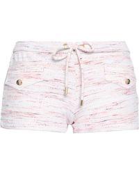 Melissa Odabash Tamara Printed Piqué Swim Shorts Pastel Pink