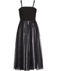 MM6 by Maison Martin Margiela Tulle-paneled Drill Maxi Dress - Black