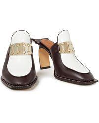Lanvin Embellished Leather Mules - Brown