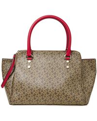 DKNY Logo-print Faux Leather Tote Claret - Multicolor