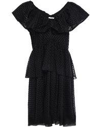 Ganni Jasmine Tiered Ruffled Flocked Tulle Mini Dress - Black