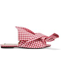 N°21 - Knotted Gingham Canvas Slides - Lyst