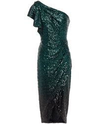 Marchesa notte One-shoulder Draped Sequined Tulle Dress - Green