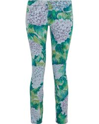 Dolce & Gabbana Floral-print Low-rise Skinny Jeans Jade