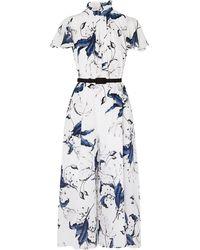 Erdem Ellamay Belted Floral-print Silk Crepe De Chine Jumpsuit White