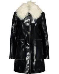 Proenza Schouler Shearling-trimmed Glossed Faux Leather Coat - Black