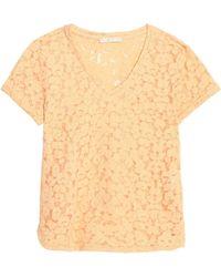 Maje - Devoré-velvet Cotton-blend Top - Lyst