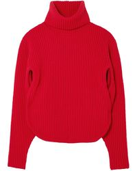 Antonio Berardi Cutout Ribbed Wool And Cashmere-blend Turtleneck Jumper - Red
