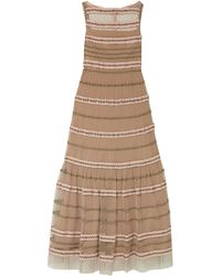 RED Valentino Rickrack-trimmed Point D'esprit Tulle Maxi Dress Sand - Natural
