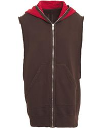 Rick Owens Drkshdw Two-tone Cotton-fleece Hooded Vest Chocolate - Brown