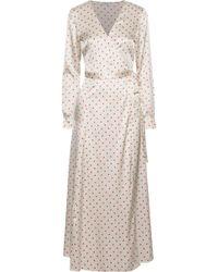 a615ad16 Ganni - Woman Dufort Polka-dot Silk-blend Satin Midi Wrap Dress Ivory -