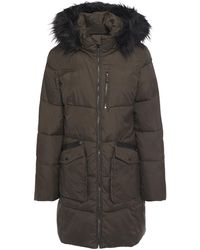 DKNY Faux Fur And Leather-trimmed Quilted Shell Hooded Coat Army Green