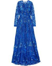 Naeem Khan Sequined Tulle Gown Cobalt Blue