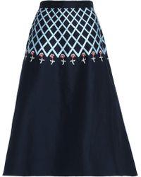 Temperley London - Flared Embroidered Cotton-faille Midi Skirt Midnight Blue - Lyst