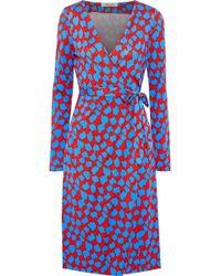 Diane von Furstenberg Julian Printed Silk-jersey Wrap Dress Red