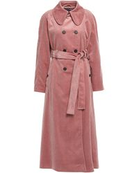 ALEXACHUNG - Double-breasted Cotton-corduroy Trench Coat Antique Rose - Lyst