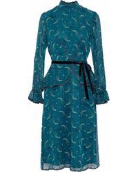 Anna Sui - Woman Guipure Lace-trimmed Printed Silk-chiffon Peplum Dress Teal - Lyst