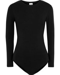 Iris & Ink Georgina Stretch-jersey Bodysuit - Black